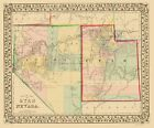 Old State Map - Nevada, Utah - Mitchell 1870 - 23 x 27.79