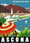 T71 Vintage Switzerland Ascona Travel Poster Re-Print A1/A2/A3/A4