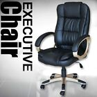 High Back Luxury Leather Office Executive Chair Computer Desk Black Cream Brown