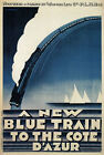 TX141 Vintage Blue Train To Cote D'Azur French Railway Travel Poster A2/A3/A4