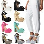 Ladies Womens Demi Wedge Platform High Heel Ankle Strap Party Sandals Shoes Size