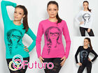 ☼ Trendy Women's Top With Lady Print ☼ Casual Long Sleeve Blouse Crew Neck FB12