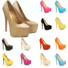 WOMENS PARTY PLATFORM PUMPS KILLER HIGH HEELS STILETTO COURT SHOES US4-11