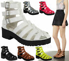 Ladies Womens Cut Out Gladiator Strappy Boots Chunky Platform Sandals Shoes Size