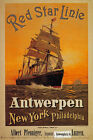 TX152 Vintage Red Star Line Antwerp New York Cruise Travel Poster A2/A3/A4