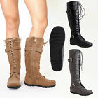 Womens Knee High Boots Lace Up Suede Buckles Comfort Winter Low Heel Booties