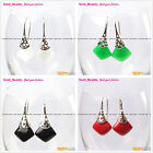 Fashion 15mm square beads tibetan silver dangle earrings 1 pair Seed_beauty