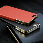 New Frame Luxury Leather Chrome Hard Back Case Cover For Apple iPhone 5 5S