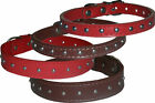 Dog Collar Puppy Pet Studded Studs Red Brown Small 31cm Medium 37cm Large 46cm