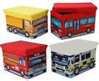 Kids Toy Space Saver Storage Box & Seat Truck Bus Fire Engine Police Car Design