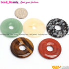 30mm round donut ring gemstone pendant loose beads 1pc ,10 materials selectable