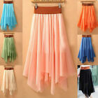 New Women Asym Hem Cute Bowknot Belt Long Skirt Maxi Dress Elastic Waist
