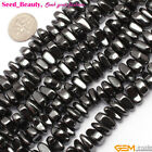 5-6x10-12mm freeform jet hematite jewelry making gemstone loose beads strand 15""