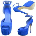 Women's Suede Peep Toe Cutout Stiletto High Heel Platform Pumps Blue Sz 5.5-10