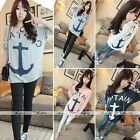 Fashion Womens Loose Batwing Sleeve Anchor Casual T Shirt Tee Tops Blouse Girl