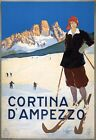 TX326 Vintage 1920's Cortina D'Ampezzo Italy Skiing Travel Poster A1/A2/A3/A4