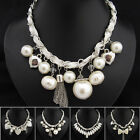 XB810 1pc Heart Bowknot Venetian Pearl Ribbon Silver Plated Chain Necklace