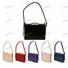 NUDE BLACK NAVY RED PURPLE Patent Leather Single Handle Clutch Evening Bag #357