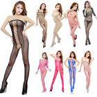 Sexy Fishnet Erotic Lingerie Opaque Lace Bodystocking Open Crothless Bodysuits
