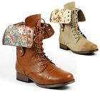Fold Down Floral Mid-Calf Lace-Up Military Combat Boots Jetta-25Z Wild Diva
