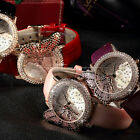 GUOU Rose Gold Butterfly Crystal Lades Women 5 Colors Leather Quartz Wrist Watch