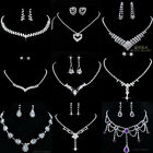 Wedding Bridal silver Jewelry Rhinestone Crystal Earring Necklace earring Set