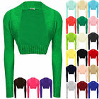 WOMENS LADIES KNITTED CROCHET BOLERO SHRUGS CARDIGAN LONG SLEEVES TOP SIZE 6-12