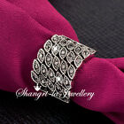 6189 VINTAGE STL Black SILVER GP Feather ANGEL EYE WIDE RING SWAROVSKI CRYSTAL