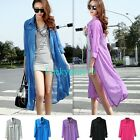 NEW LAPEL SEE THROUGH BUTTON DOWN LONG SLEEVE CHIFFON DUSTER CARDIGAN SUNDRESS