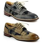 Ferro Aldo Mens Lace Up Plaid Dress Classic Shoes w/ Leather lining M-19266A