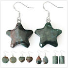 EH806 925 Silver Hook Natural Indian Agate Earrings