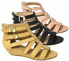 NEW WOMENS LOW WEDGE CUT OUT STRAP LADIES GLADIATOR BEACH SANDALS SIZE 3-8