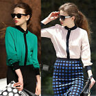 Womens Chiffon Pleated OL Long Sleeve Botton Down Stand Neck Shirt Blouse Tops