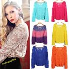 Hot Semi Sheer Women Sleeve Embroidery Floral Lace Crochet T-Shirt Top Blouse