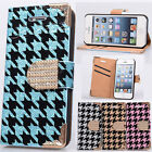Gorgeous bling Flip Leather stand pouch Case cover skin for iPhone 5 5G 5S 6th