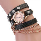 Fashion Women Girl Leather Sling Chain Rhinestone Synthetic Quartz Wrist Watch