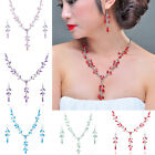 NEW Rhinestone Crystal Silver Necklace Earrings Set 6 Color+Free Gift Ring JZ