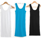 Women Sleeveless Casual Mini Dress Bodycon Plain T-Shirt Tank Tops From UK