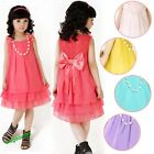 Cute Kid Flower Girls Chiffon Party Pageant Dress Tutu + Pearl Necklace 3-13Y