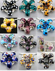 12 Style Silver Core Flower Murano Glass Spacer Beads Fit Charms Bracelet Jf496