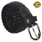 BELT BRAIDED MEN'S GENUINE LEATHER CASUAL BELT  BLACK NEW