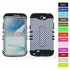 For Samsung Galaxy Note 2 II Purple Checker Plaid Hybrid Impact Phone Case Cover