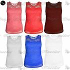 Womens Ladies Floral Lace Celebrity Sleeveless Bodycon Stretchy Vest T Shirt Top