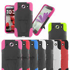 For LG Optimus G Pro E980 Hybrid Trapezoid Y Stand Hard Silicone Case Cover