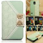 Wallet Card Bling Diamond Flip Leather Lace Bow Case Cover For Samsuang Phone