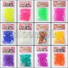 600 Clear Jelly Rubber Band 24 Clip Hook Colorful Loom Bracelet Refill 12 Colour