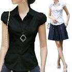 Womens Collar Tops Vintage Cap Sleeve Top Summer Shirt Smart Button Blouse Size