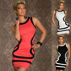 Sexy Bodycon Cocktail Prom Color Block Crew Neck Contrast Clubwear Short Dress