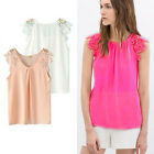 Women Summer Casual Lace Floral Chiffon Hollow Splice Sleeveless Tops Blouses