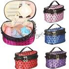 Portable Cosmetic Toiletry Dot Lace Pattern With Mirror Makeup Totes Case Bag